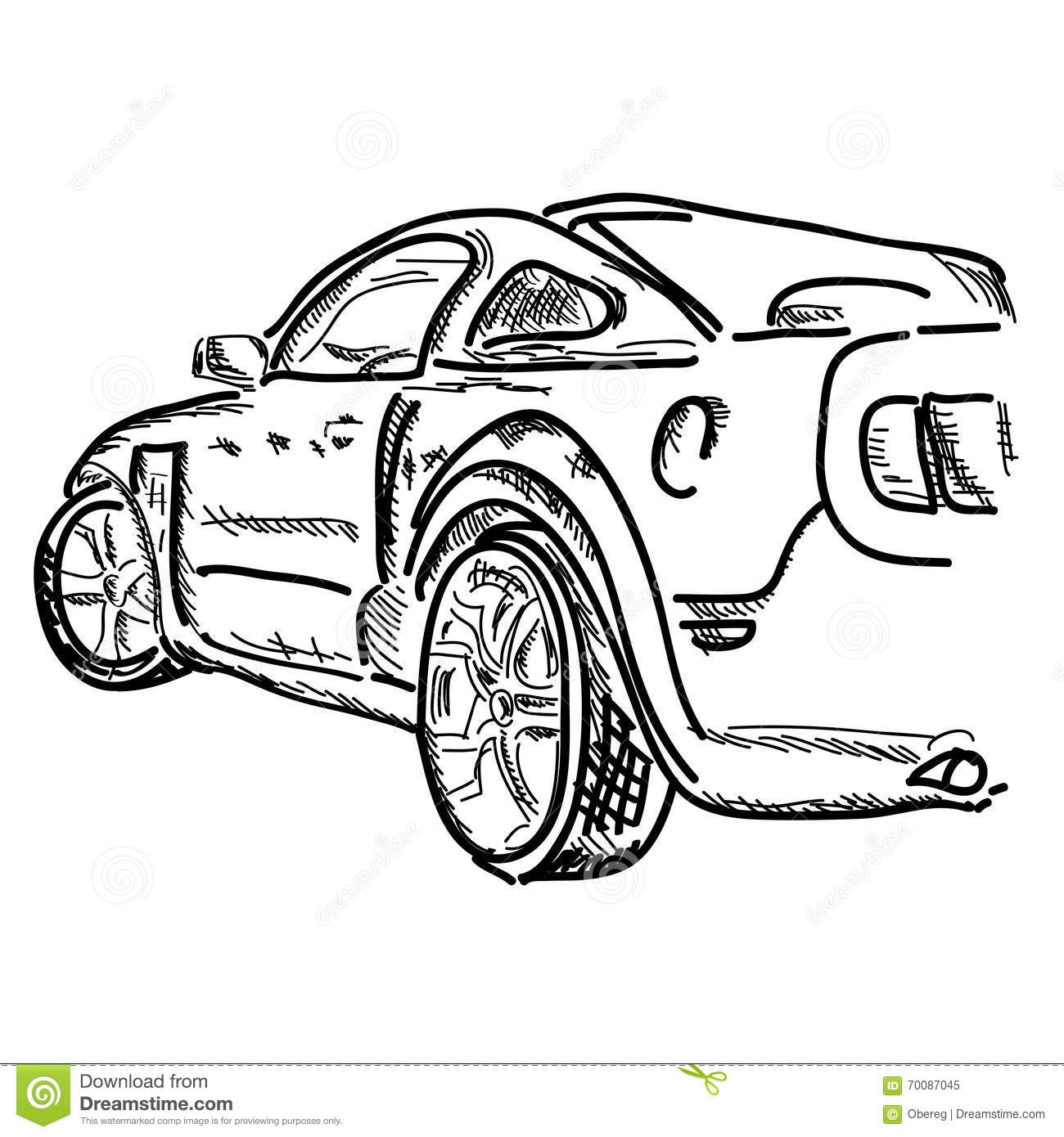 Hand Draw Simple Sketch Car Vector Illustration Stock