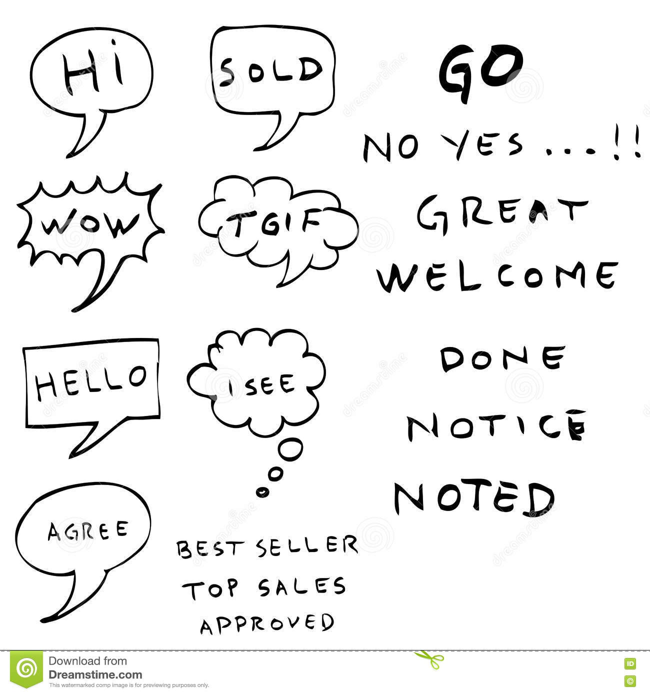 Hand Draw Sketch Of Bubble Chat And Text Stock Vector