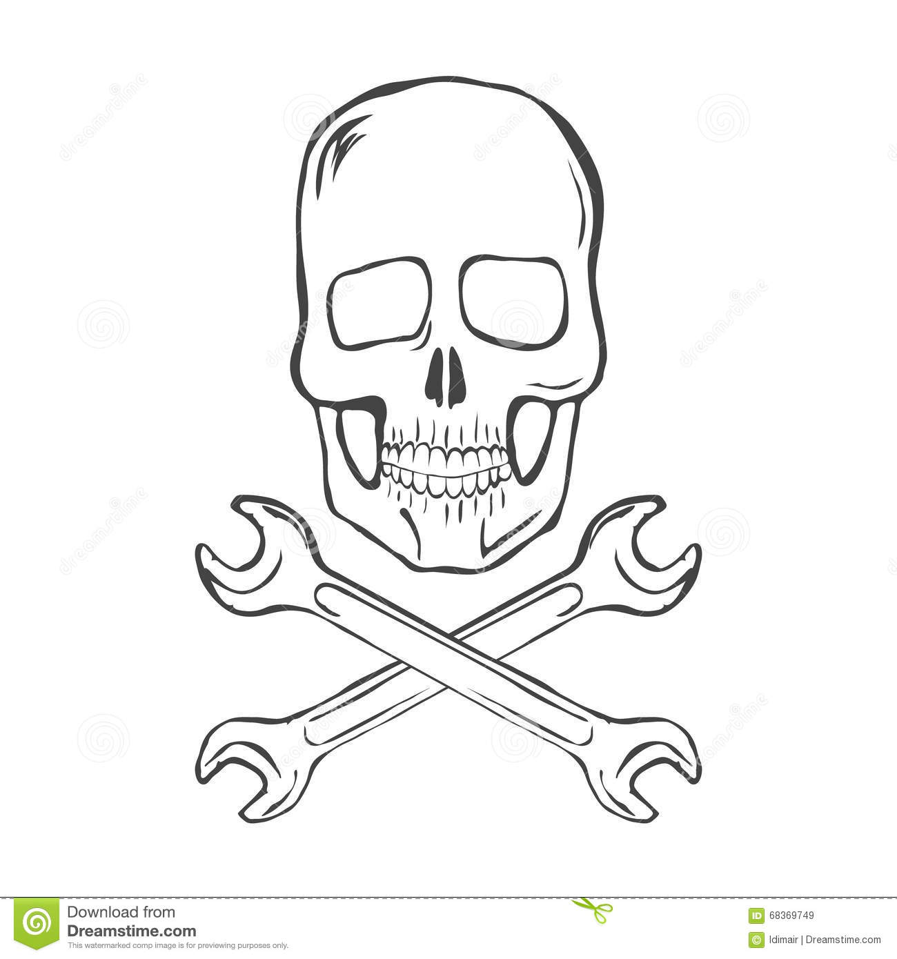 Skull And Wrenches Over United States Icon Cartoon Vector