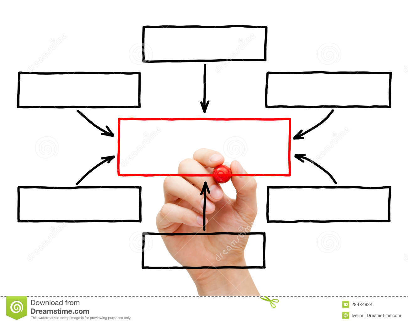 Hand Drawing Blank Flow Chart Stock Photo