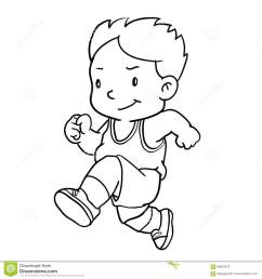 hand drawing of boy runnin isolated on white background black and white simple line vector illustration for coloring book line drawn vector [ 1300 x 1390 Pixel ]