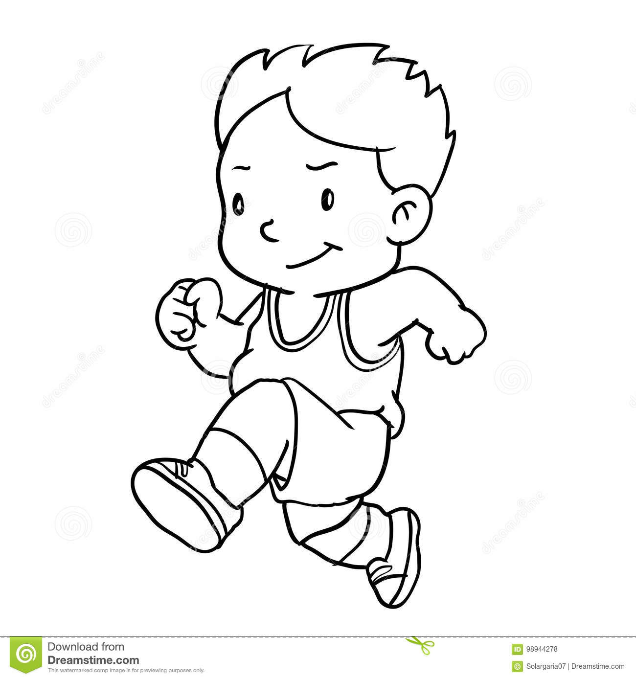hight resolution of hand drawing of boy runnin isolated on white background black and white simple line vector illustration for coloring book line drawn vector