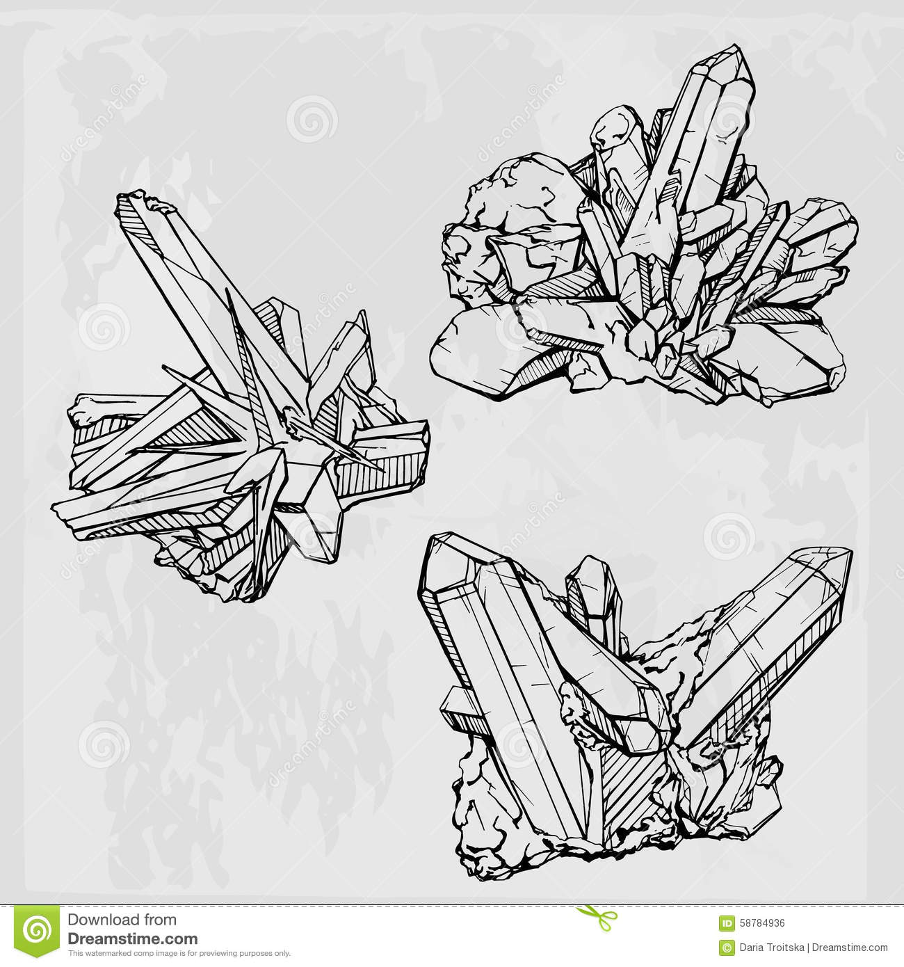 Hand Drawing Crystal Gems. Geometric Gemstone Stock Vector
