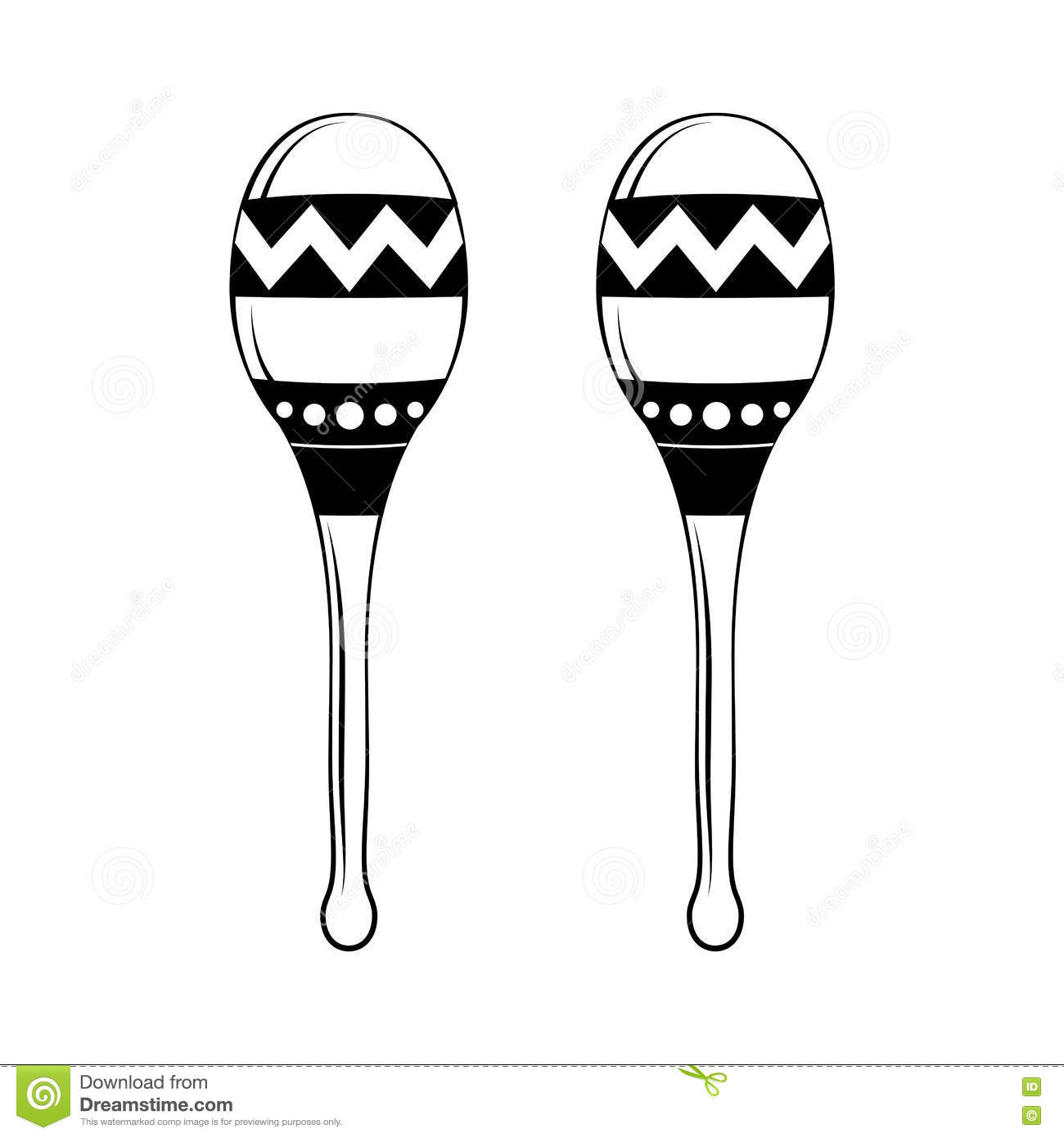 Hand Drawing Maracas. Symbol Of Mexico, Musical Instrument