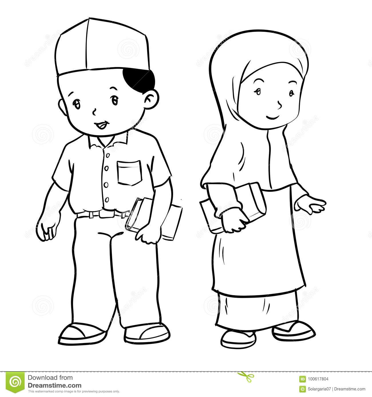Hand Drawing Muslim Students Vector Illustration Stock