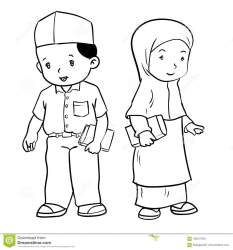 muslim drawing students hand vector boy background standing education simple line illustration preview