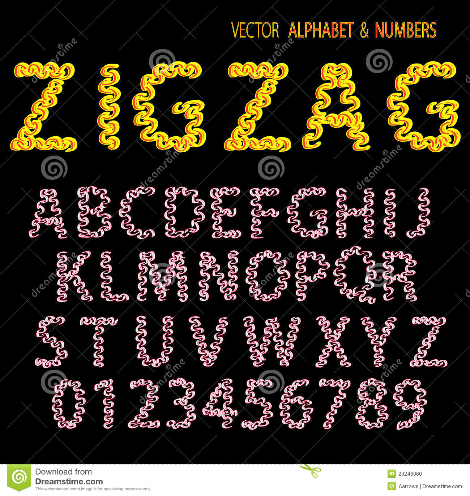 Hand Drawing Ornamental Alphabet Zigzag Stock Photo