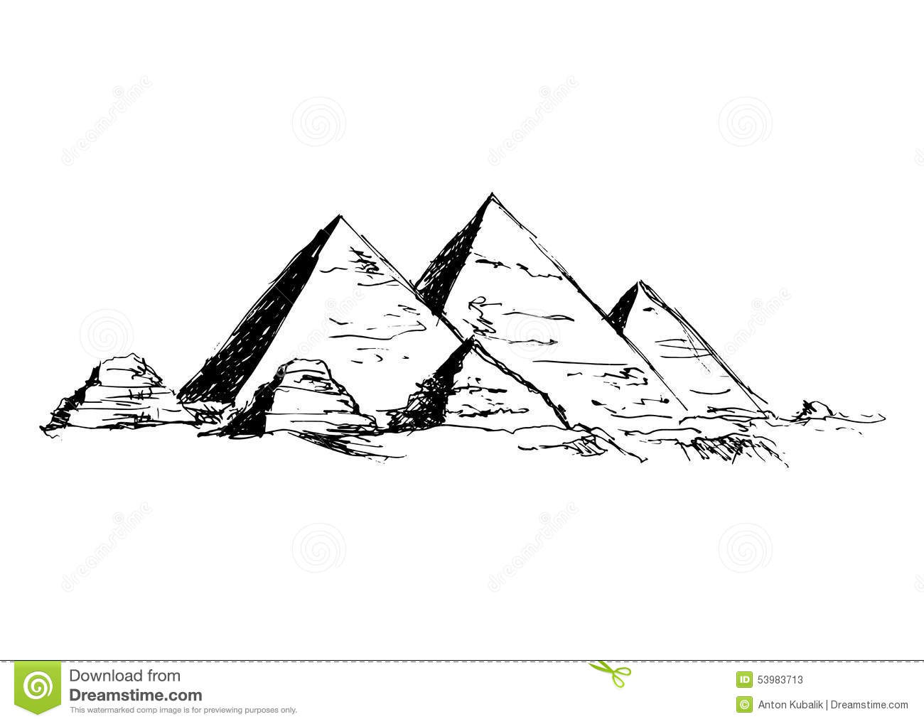 Hand Drawing Pyramids Stock Vector Image Of Cultural