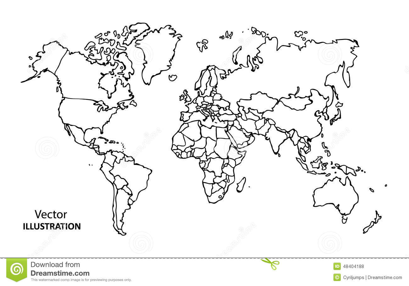 Hand Drawing World Map With Countries Stock Vector