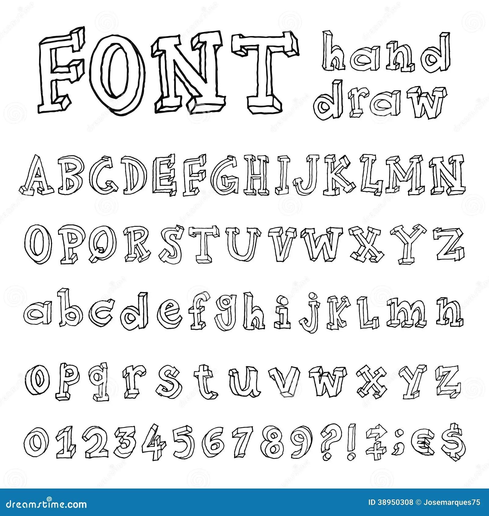 Hand Drawn Alphabet Handwritten Font Stock Vector
