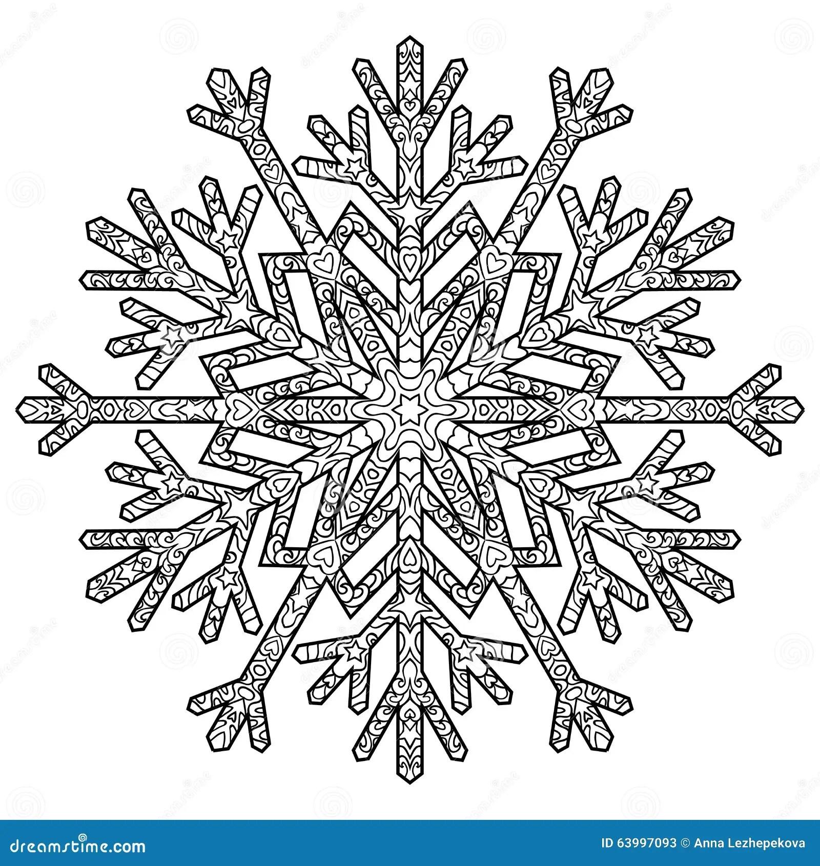 Hand Drawn Antistress Snowflake. Stock Vector