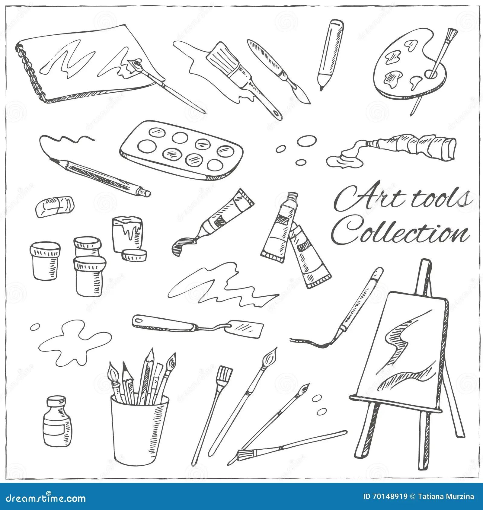 Hand Drawn Art Tools Set Vector Illustration F Stock