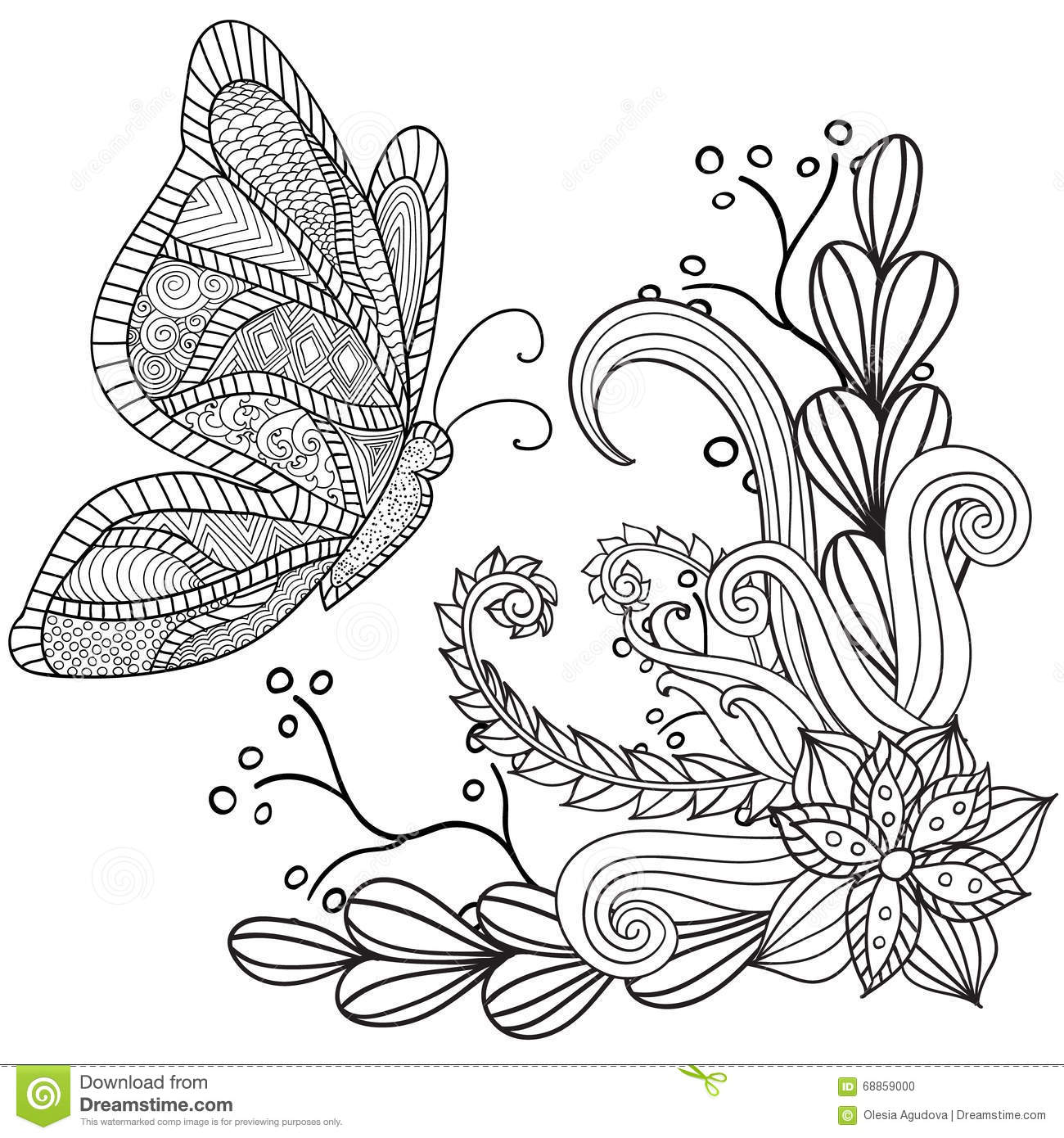 Hand Drawn Artistic Ethnic Ornamental Patterned Floral