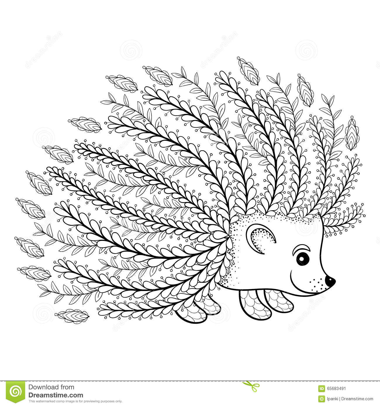 Hand Drawn Artistic Hedgehog For Adult Coloring Page In