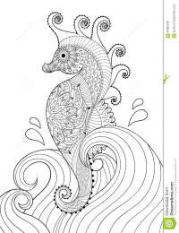 Hand Drawn Artistic Sea Horse In Waves For Adult Coloring ...
