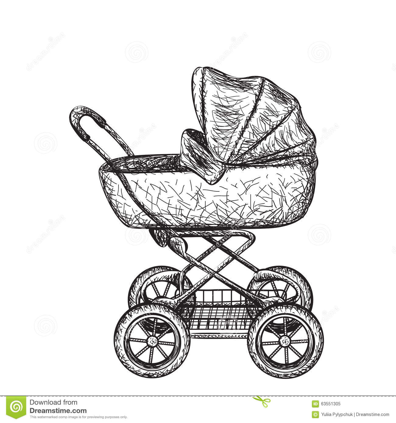 Hand Drawn Baby Carriage Stock Vector