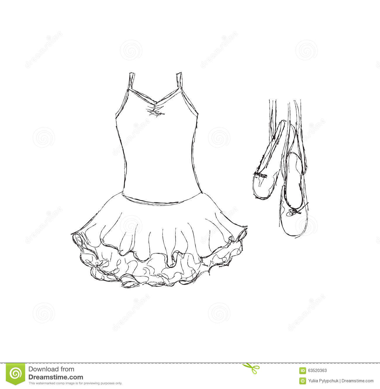 Hand Drawn Ballet Tutu And Shoes Stock Vector