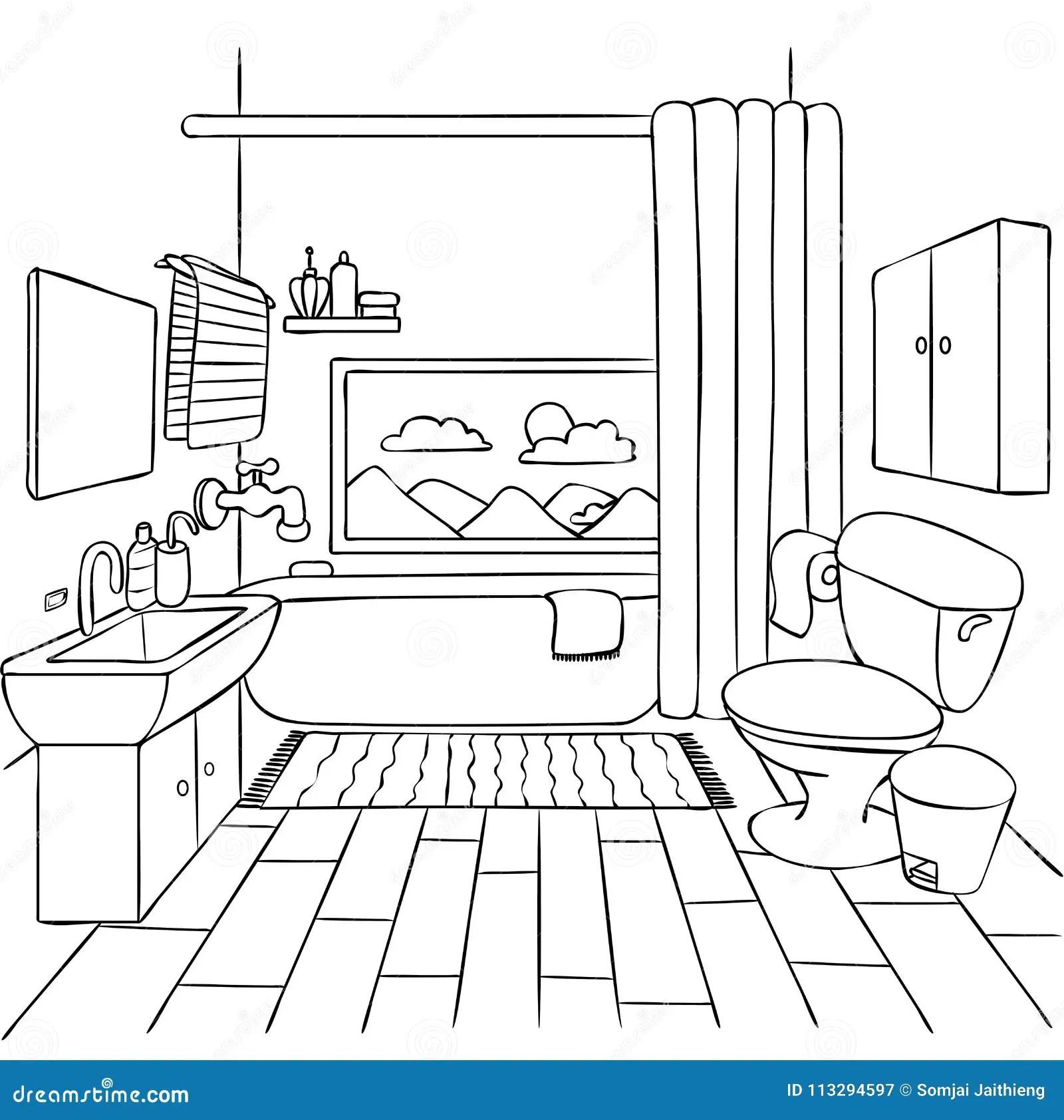 Bathroom Coloring Stock Illustrations 250 Bathroom