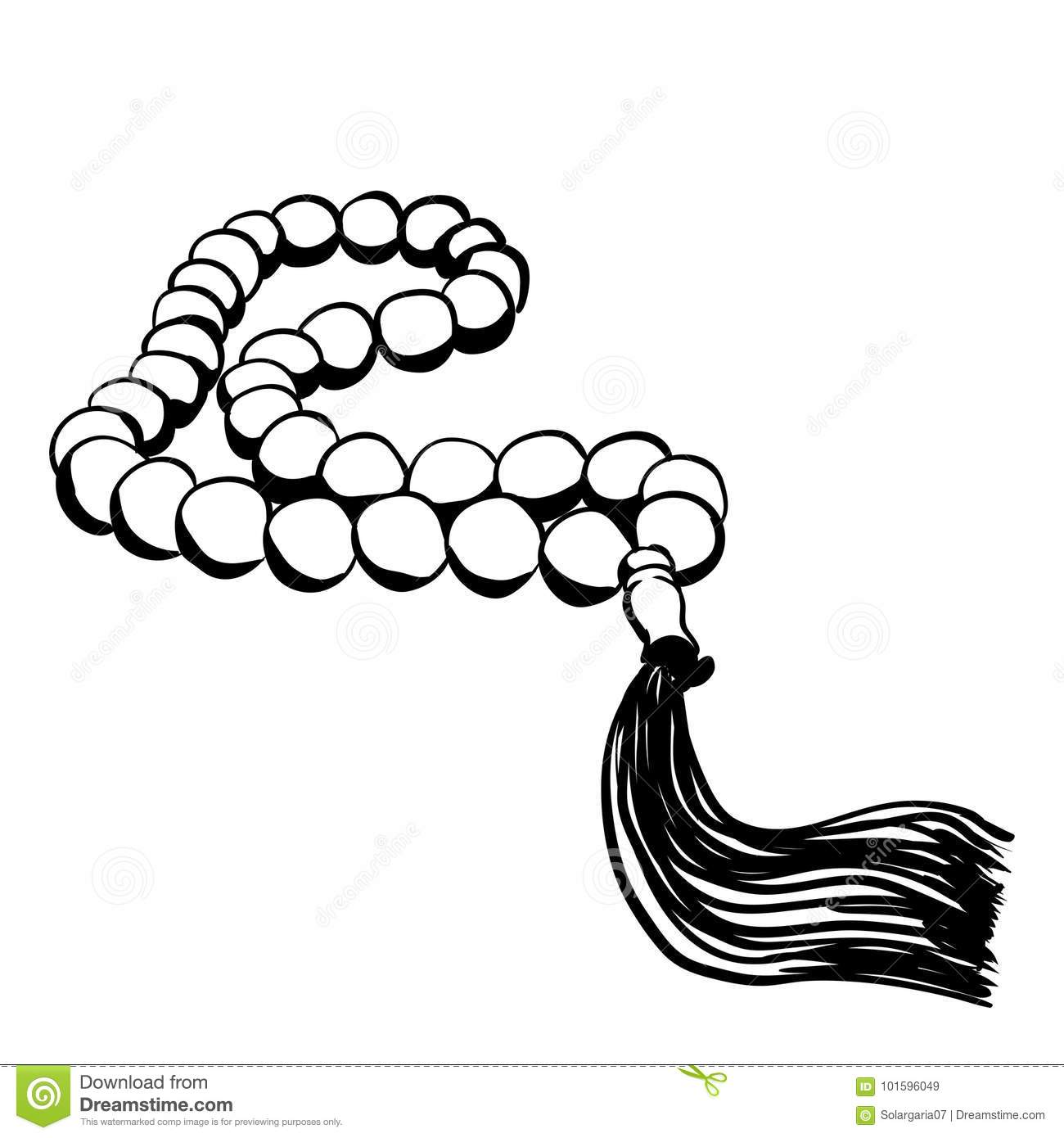 Hand Drawn Beads On A String- Drawing Vector Stock Vector