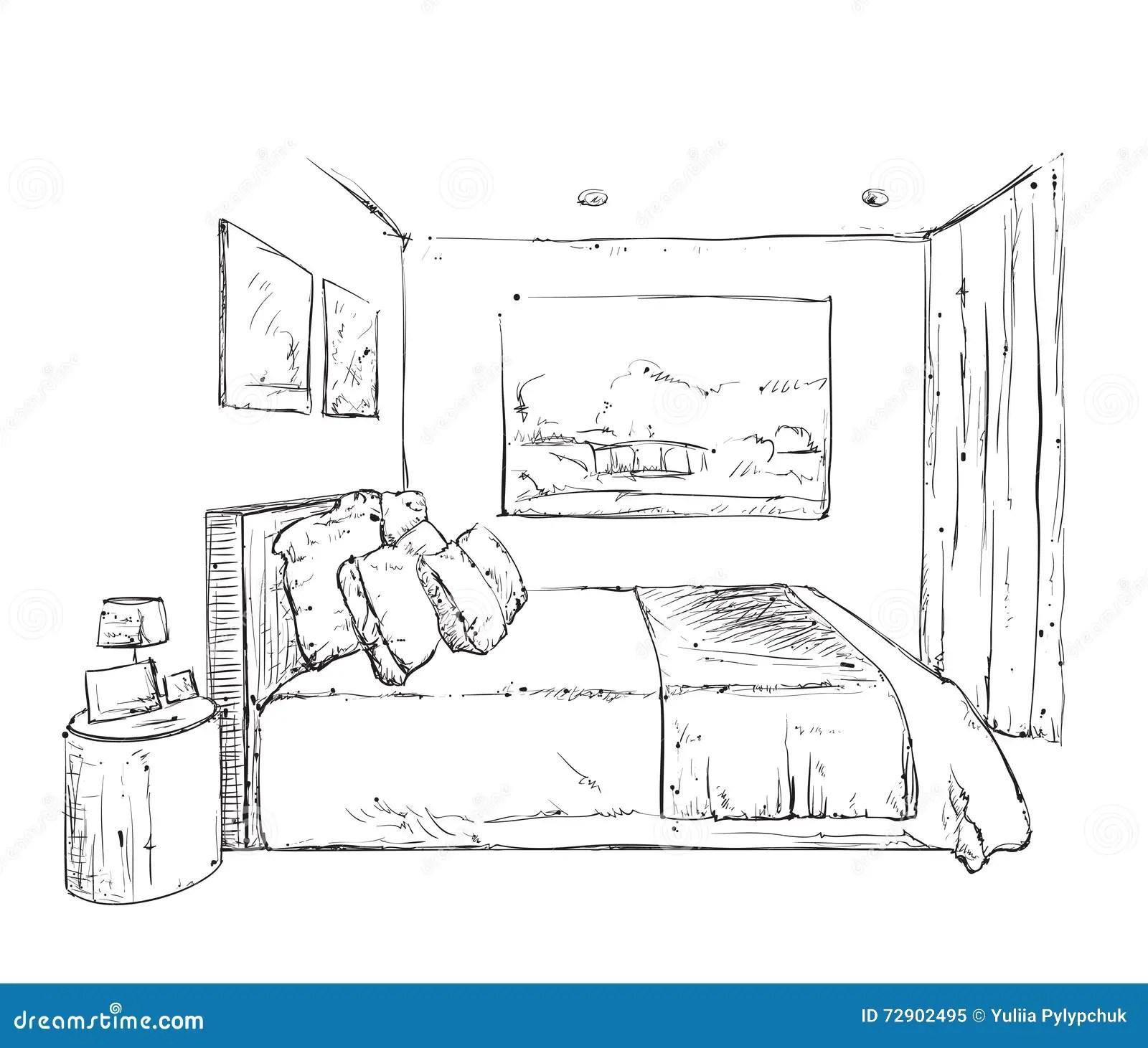 Hand Drawn Bedroom Interior Sketch Stock Vector