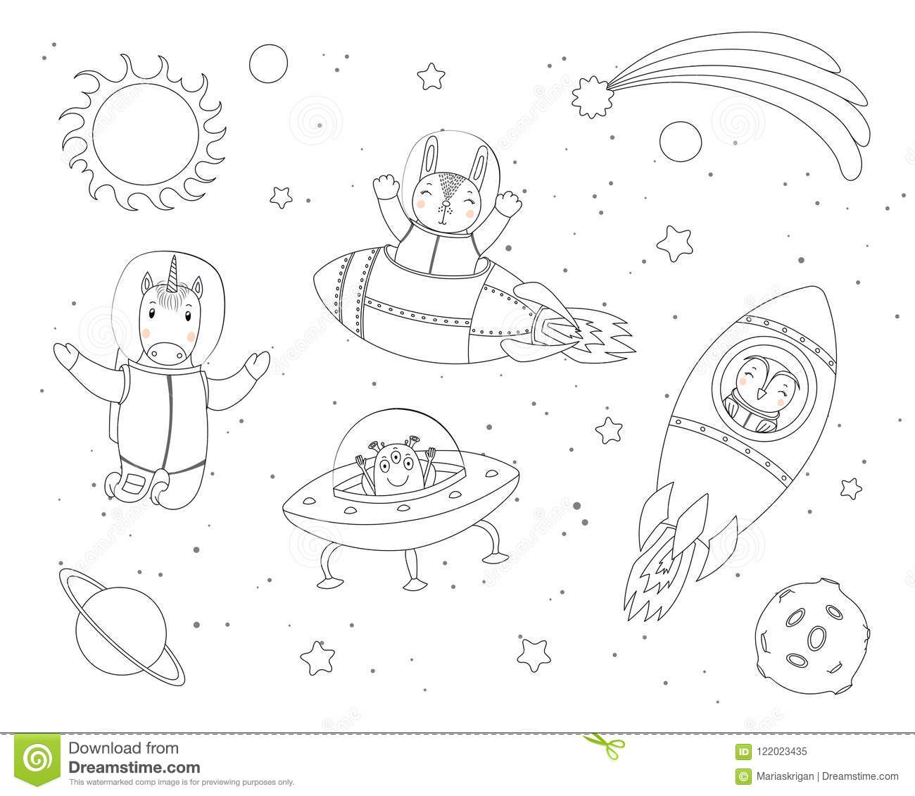 Cute Animals In Space Coloring Pages Stock Vector