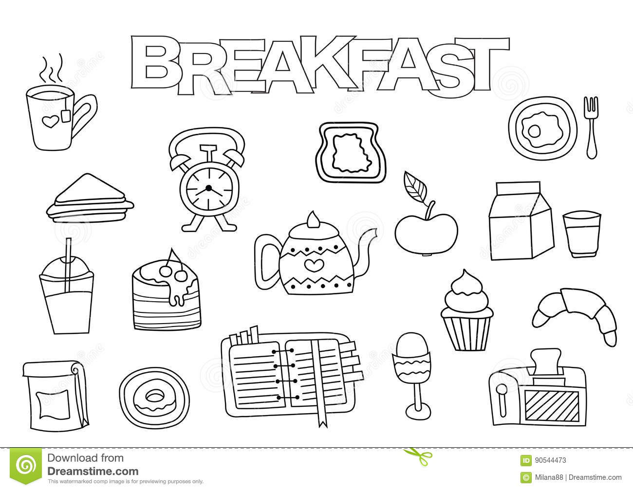 Hand Drawn Breakfast Set. Coloring Book Template. Outline