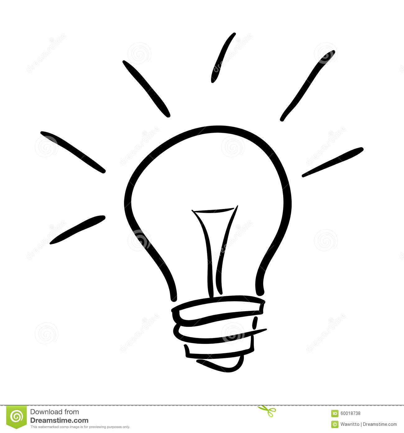Hand Drawn Bulb Isolated On White Background Stock Vector