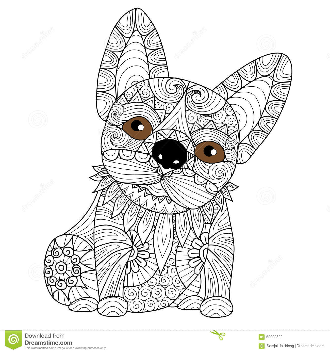 Hand Drawn Bulldog Puppy For Coloring Book For Adult Stock