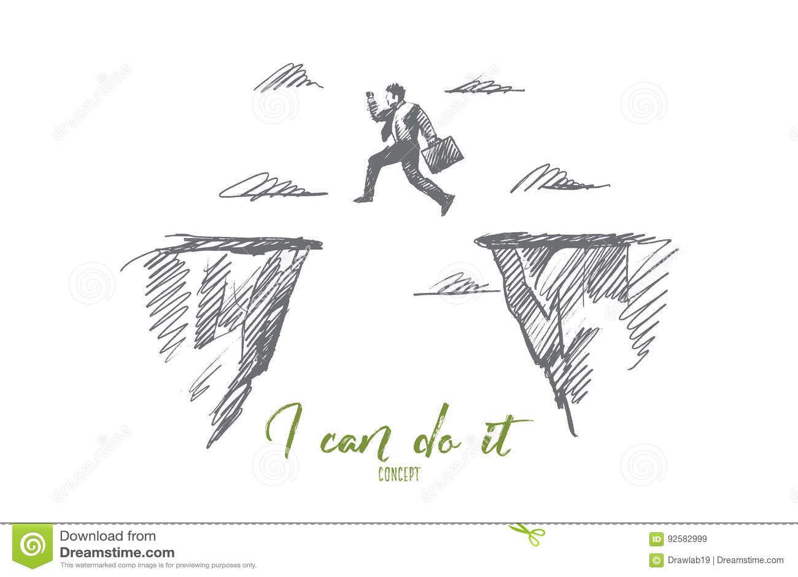 Hand Drawn Businessman Jumping Between Rocks Stock Vector