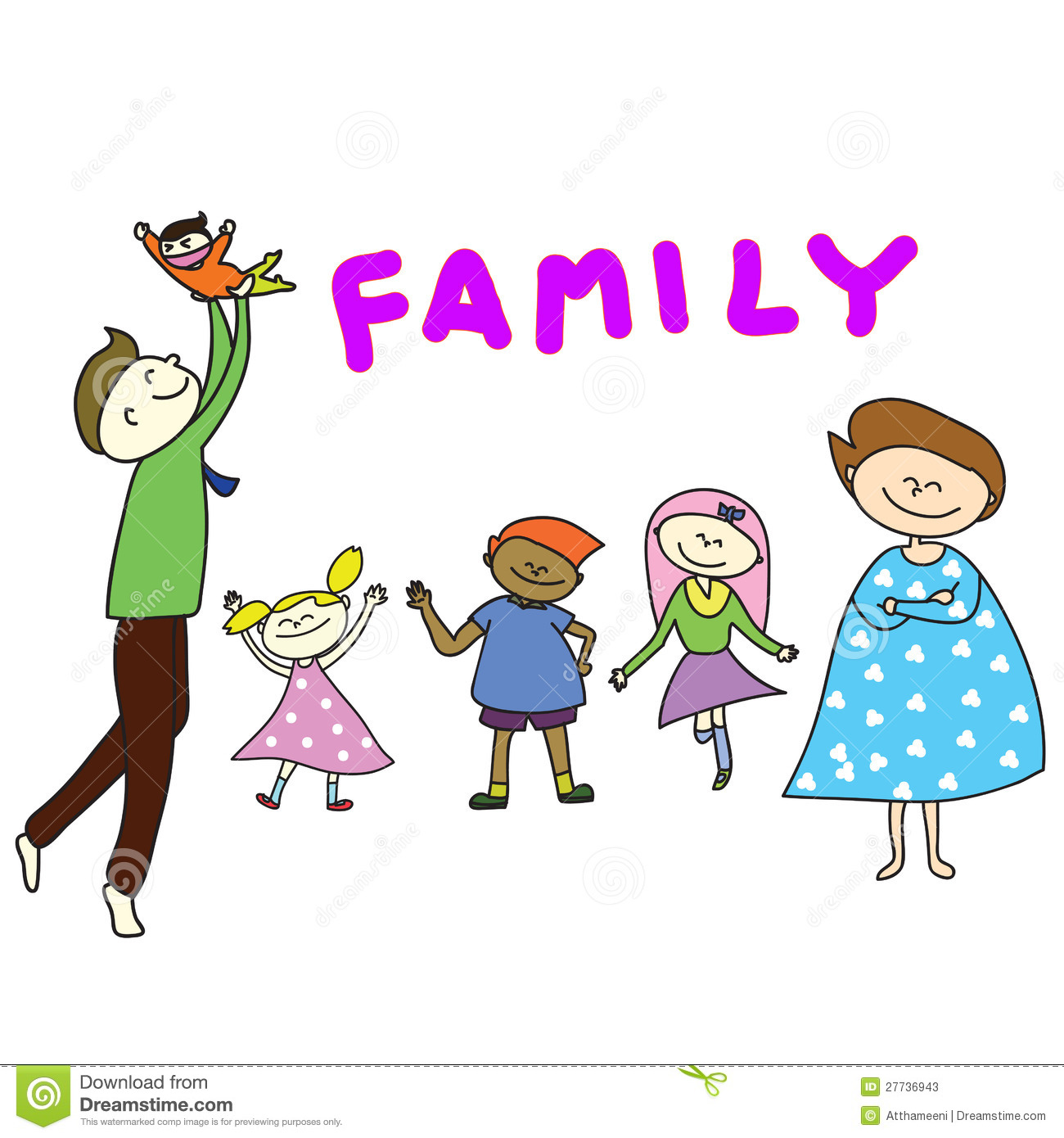 Hand Drawn Cartoon Happy Family Stock Photos