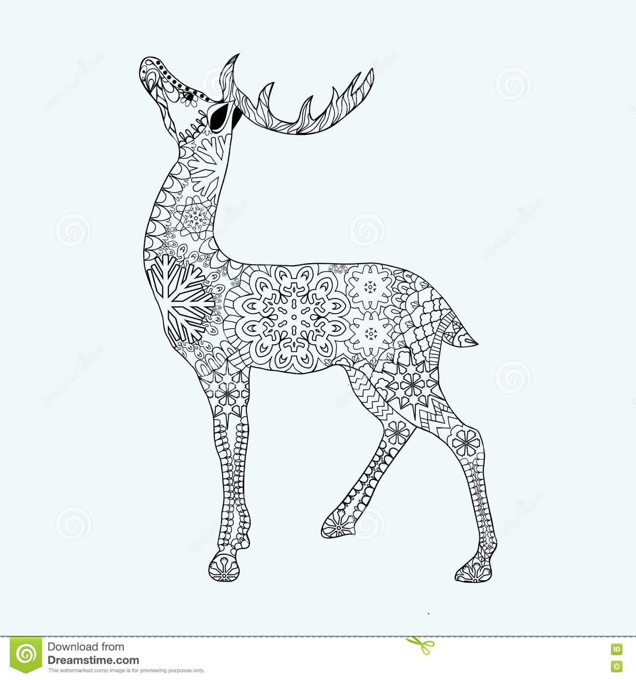 Hand Drawn Christmas Deer On White Background Stock