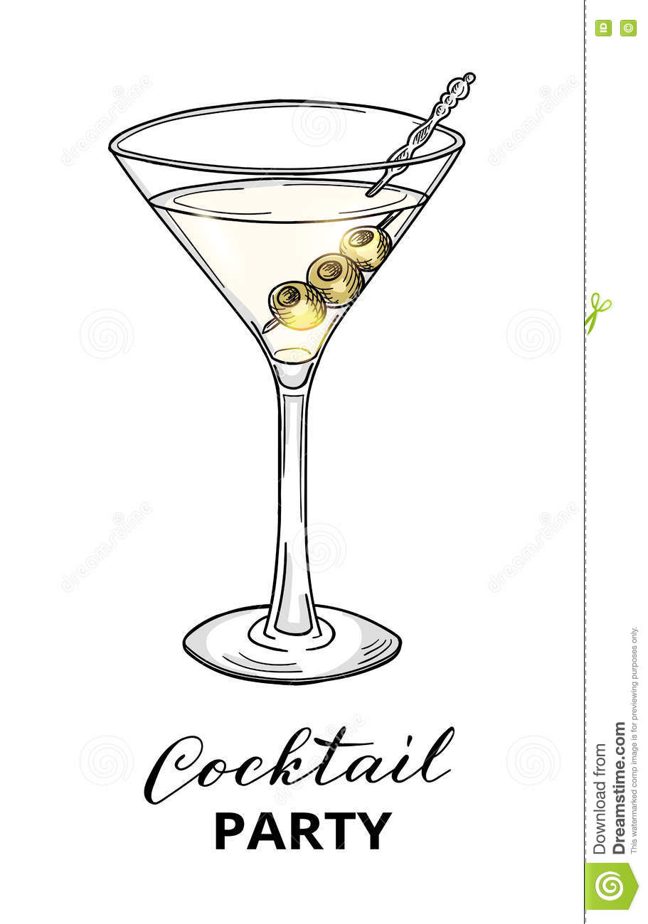 Hand Drawn Cocktail In Martini Glass With Olives Stock