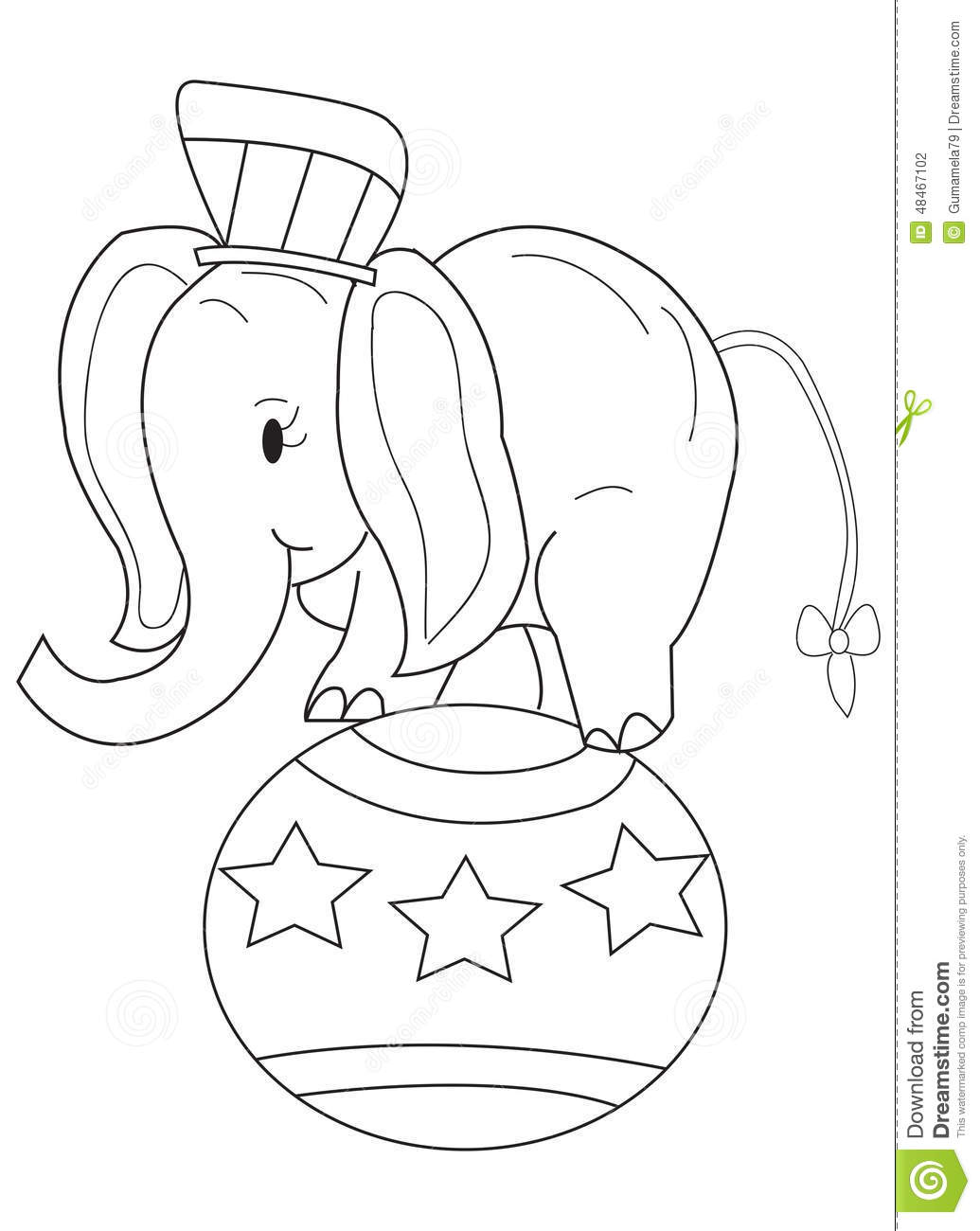 Hand Drawn Coloring Page Of A Circus Elephant Stock