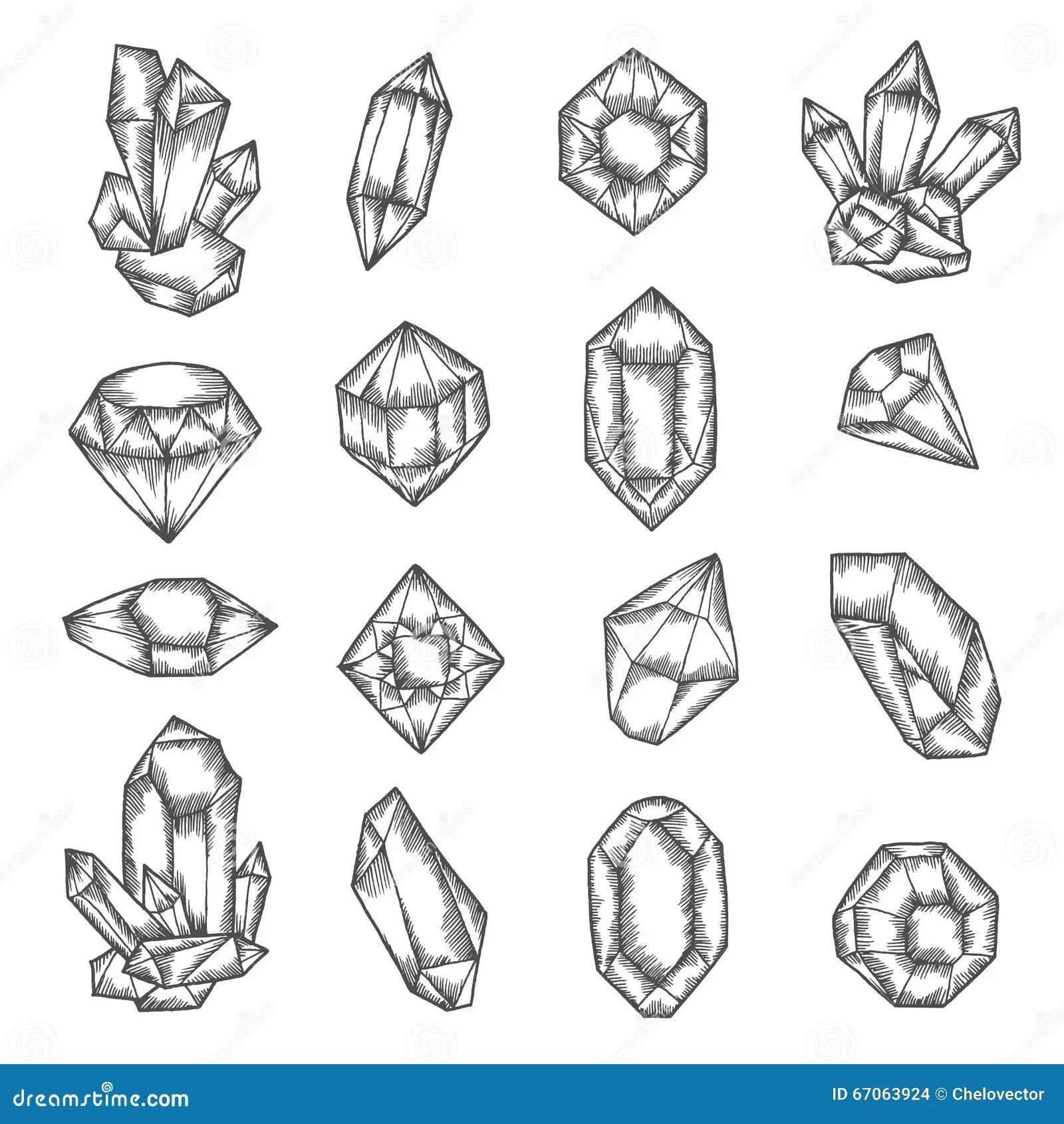 Hand Drawn Crystals Graphic Set Vector Vintage
