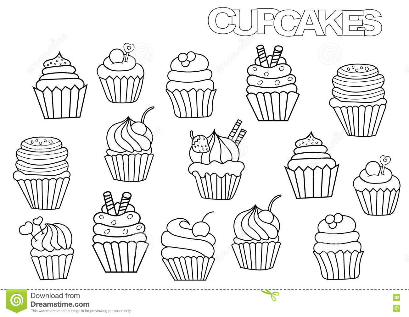 Hand Drawn Cupcakes Set. Coloring Book Page Template