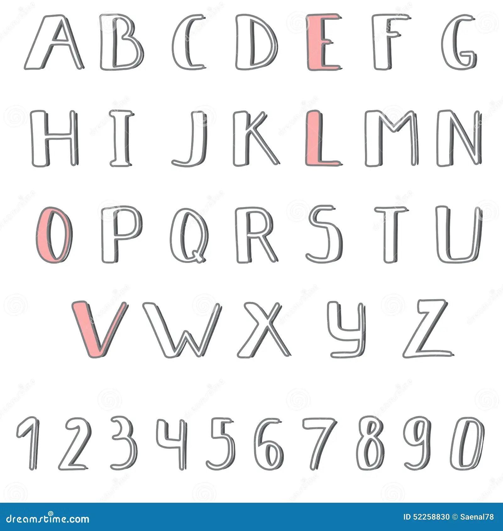 Hand Drawn Cute Alphabet Comic Cartoon Font Stock Vector