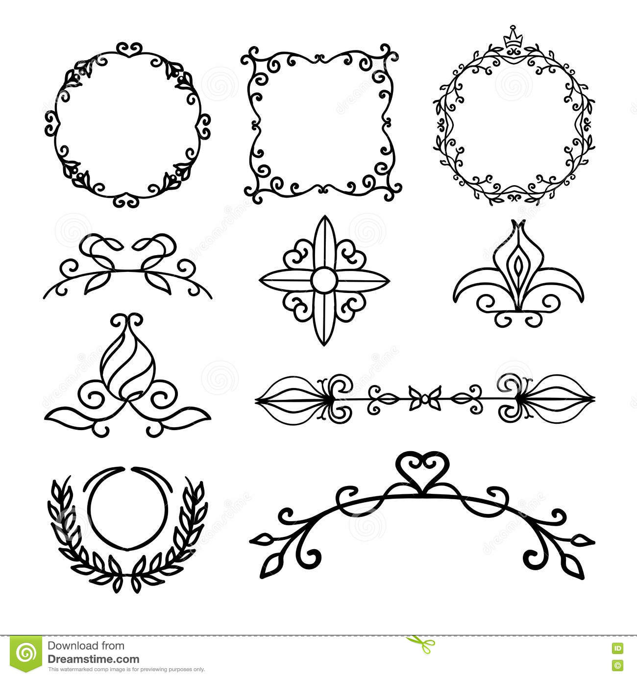 Hand Drawn Decoration Elements Frames Page Divider And