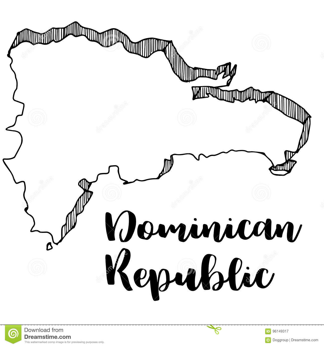 Hand Drawn Of Dominican Republic Map Illustration Stock