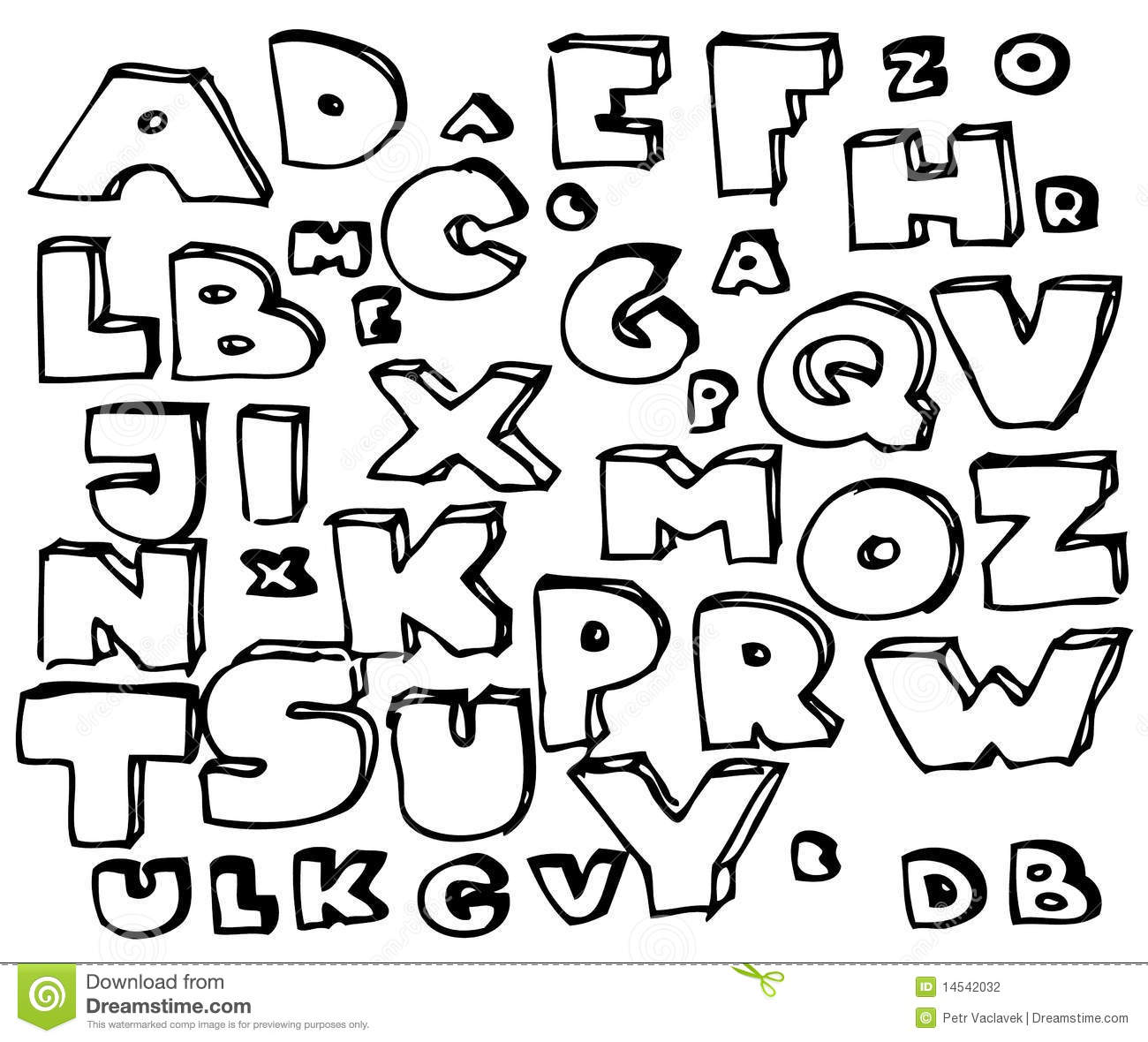 Hand Drawn Doodle Alphabet Stock Photography  Image 14542032