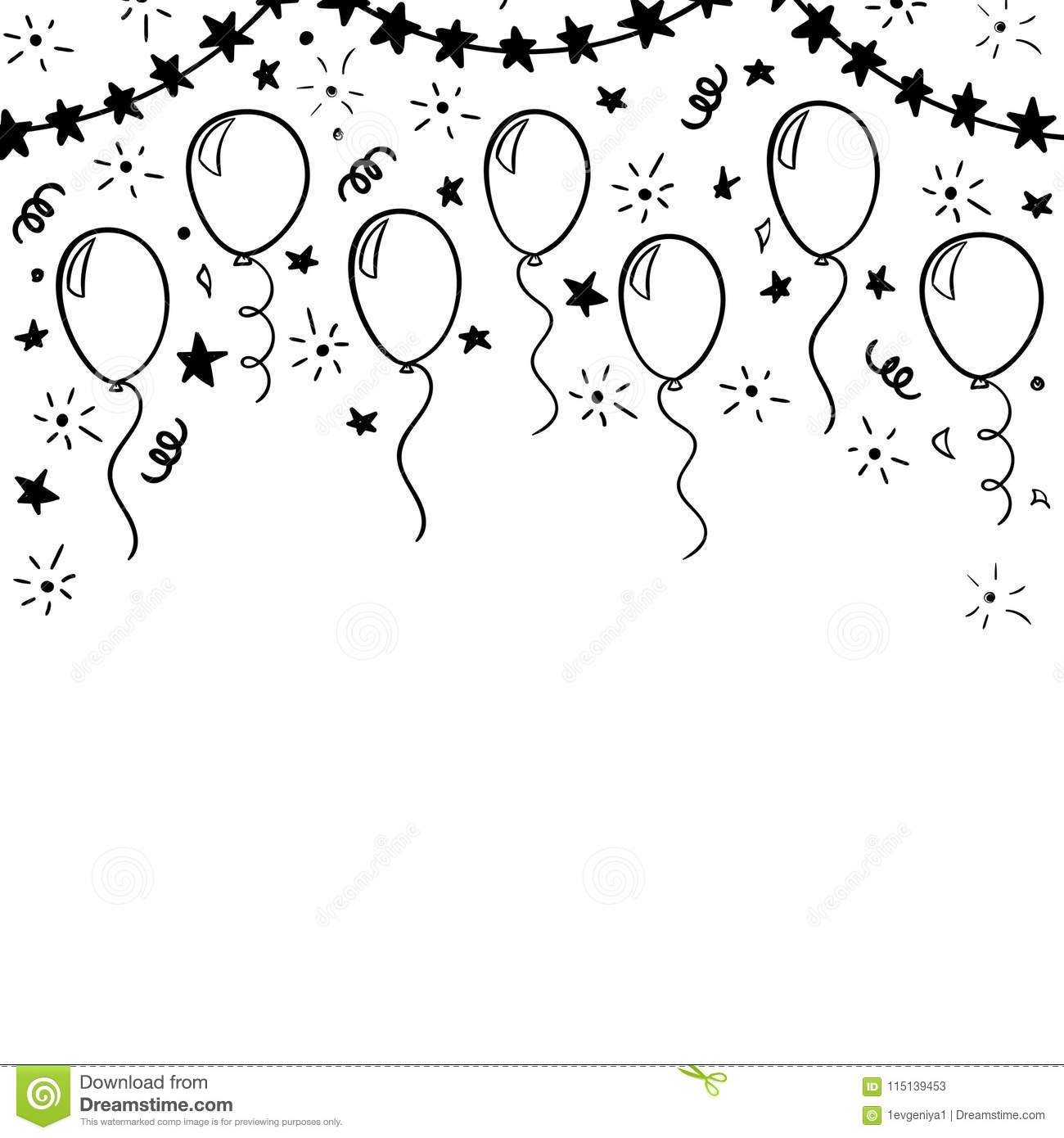 Hand Drawn Doodle Black And White Balloon Design Holiday
