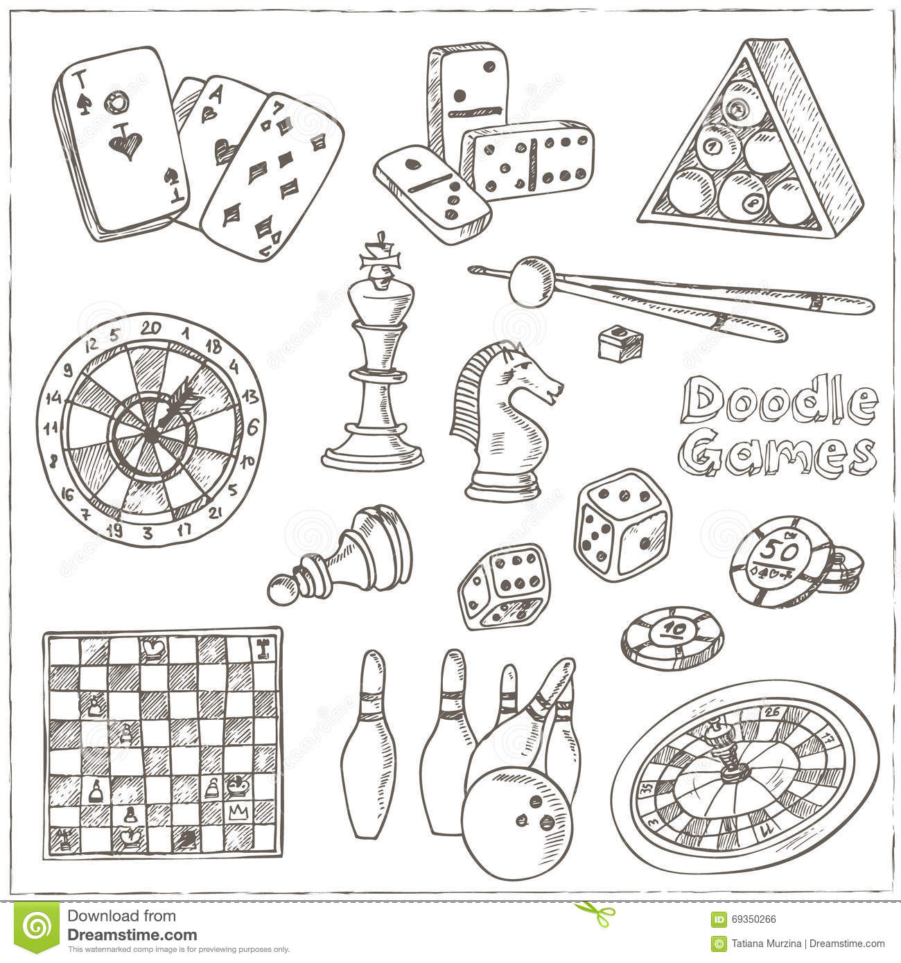 Hand Drawn Doodle Games Set. Chess Piece, Casino Roulette