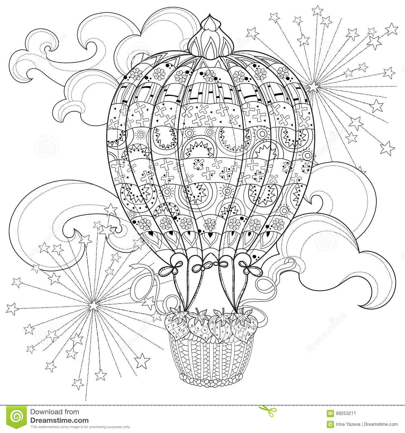 Hand Drawn Doodle Outline Air Baloon In Flight Stock