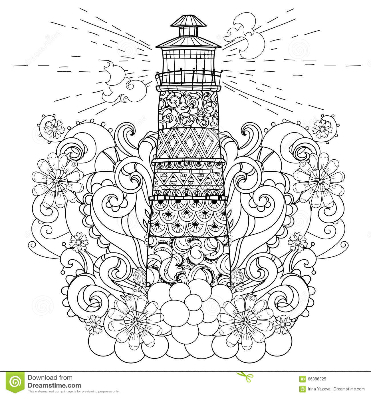 Hand Drawn Doodle Outline Lighthouse Boho Stock Vector