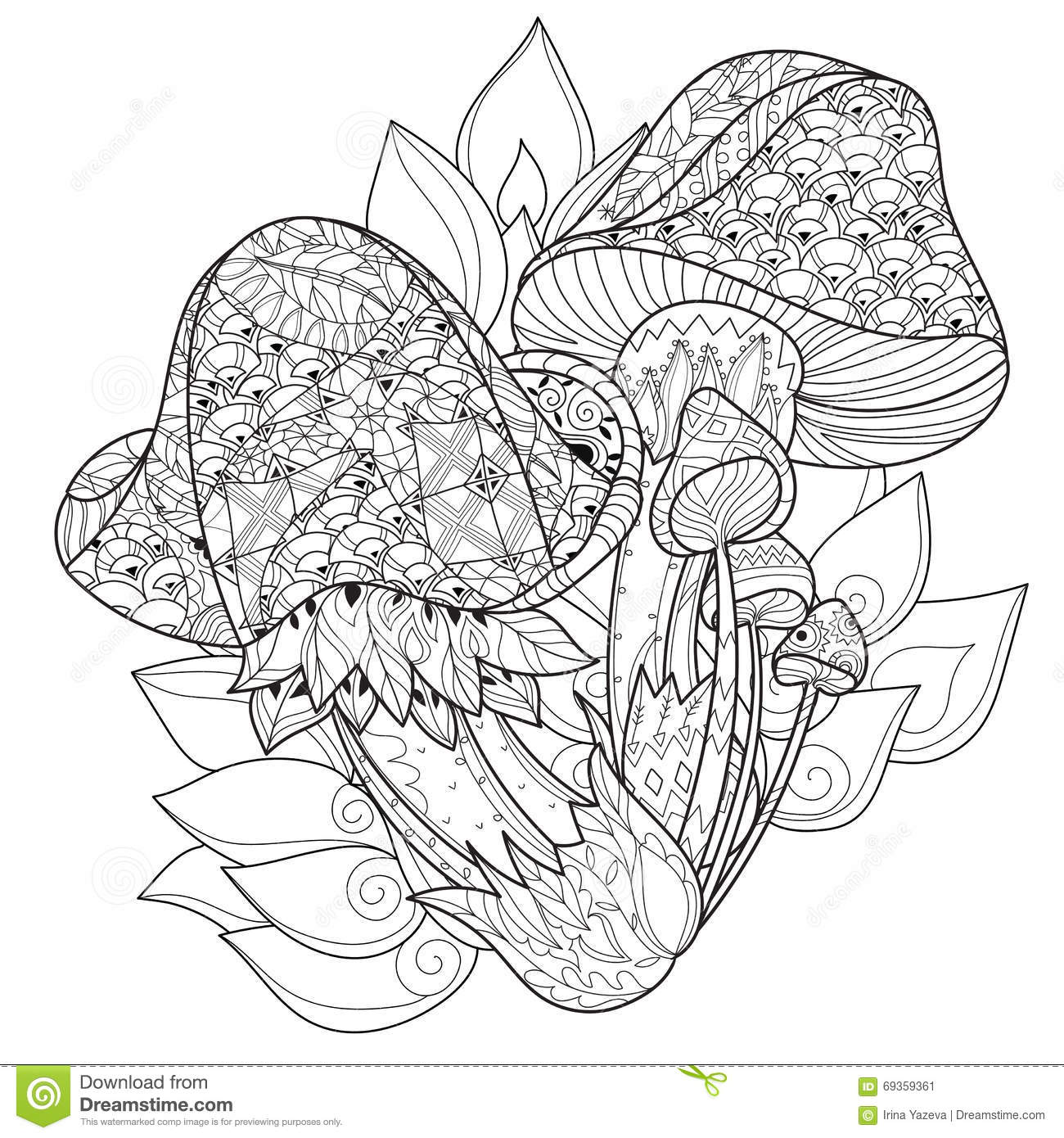 Hand Drawn Doodle Outline Magic Mushrooms Stock Vector