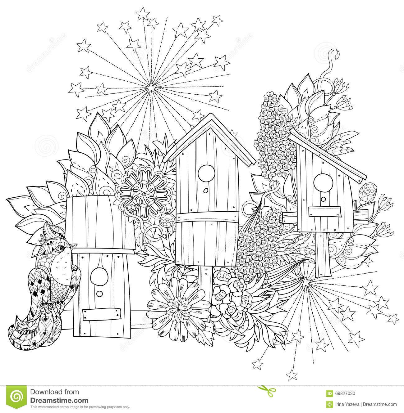 Hand Drawn Doodle Outline Spring Nesting Box Stock