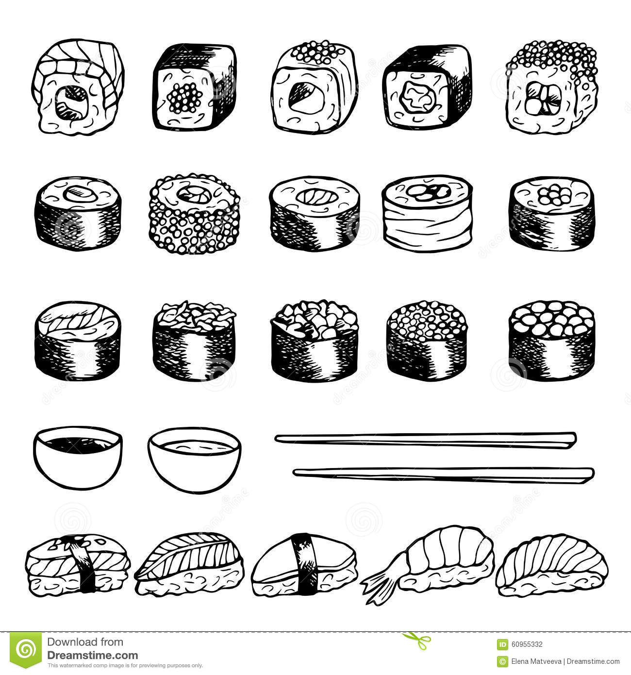 Hand Drawn Doodle Set With Sushi Stock Vector