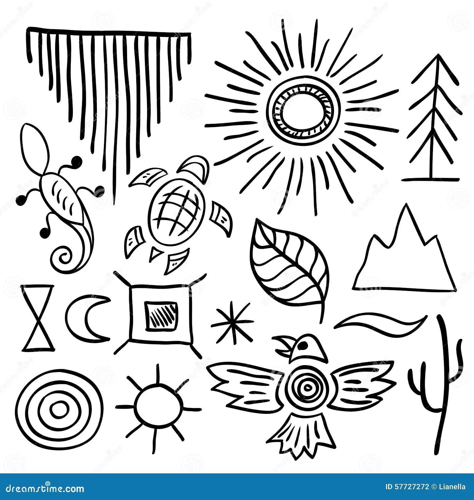 Hand Drawn Doodle Vector Native American Symbols Set Stock