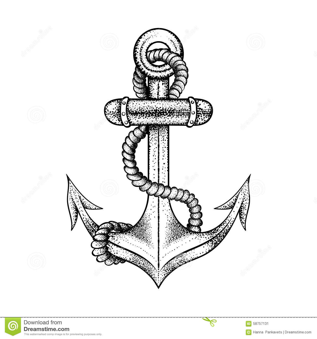 Hand Drawn Elegant Ship Sea Anchor With Rope Stock Vector