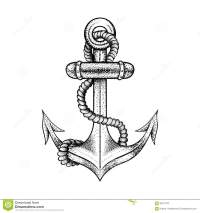 Hand Drawn Elegant Ship Sea Anchor With Rope Stock Vector ...