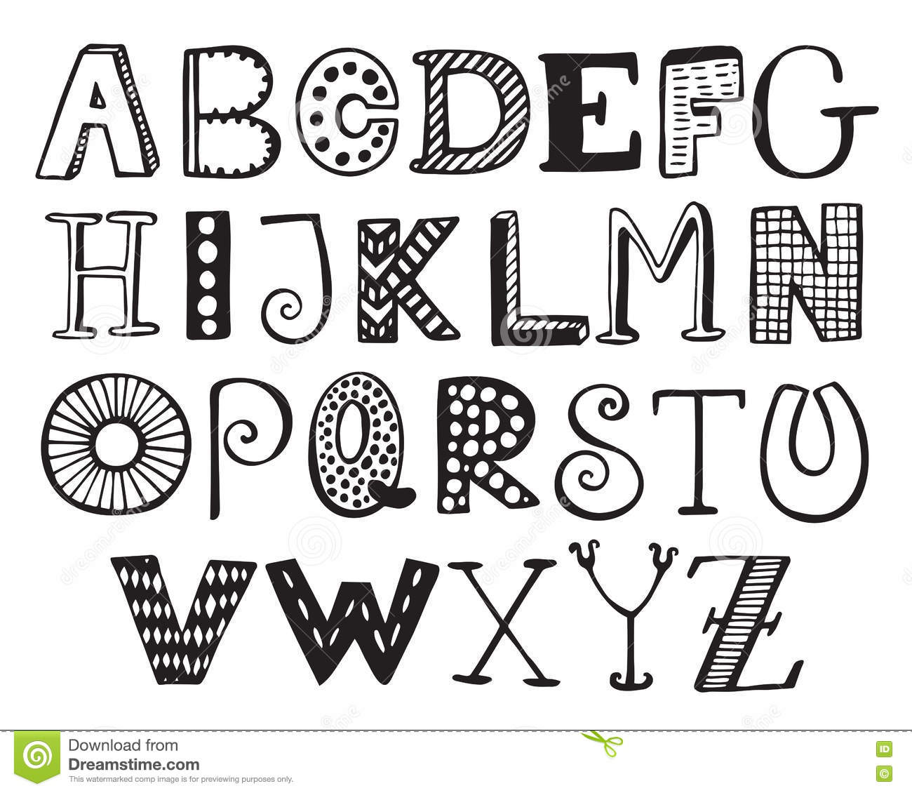Hand Drawn Fancy Alphabet Funny Doodle Letters Stock